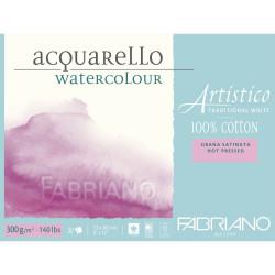 Bloc Papier aquarelle Artistico blanc traditionnel (23x30,5 cm) - Grain satiné de Fabriano (20 feuilles)