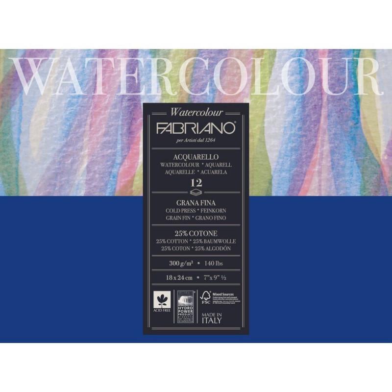 """Bloc Papier aquarelle """"Watercolour"""" (18x24 cm) - Grain fin de Fabriano (12 feuilles)"""