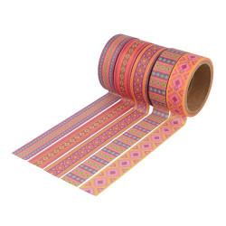 """Set de 5 rouleaux Masking Tape """"Alpaga motifs"""" d'Artemio ( 15mm x 5m)"""