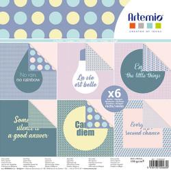 """Bloc de 6 feuilles recto verso 30x30 cm """"Messages"""" d'Artemio"""