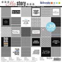"""Bloc de 60 feuilles de papier scrapbooking 30x30 cm """"Ma story"""" d'Artemio"""
