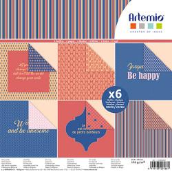 """Bloc de 6 feuilles recto verso 30x30 cm """"Bonheur"""" d'Artemio"""