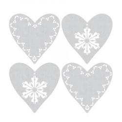 Set de 4 grands motifs Dentelle de bois Coeurs