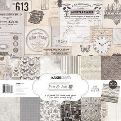 """Kit scrapbooking 30x30 """"Pen & ink"""" de Kaisercraft Paper"""
