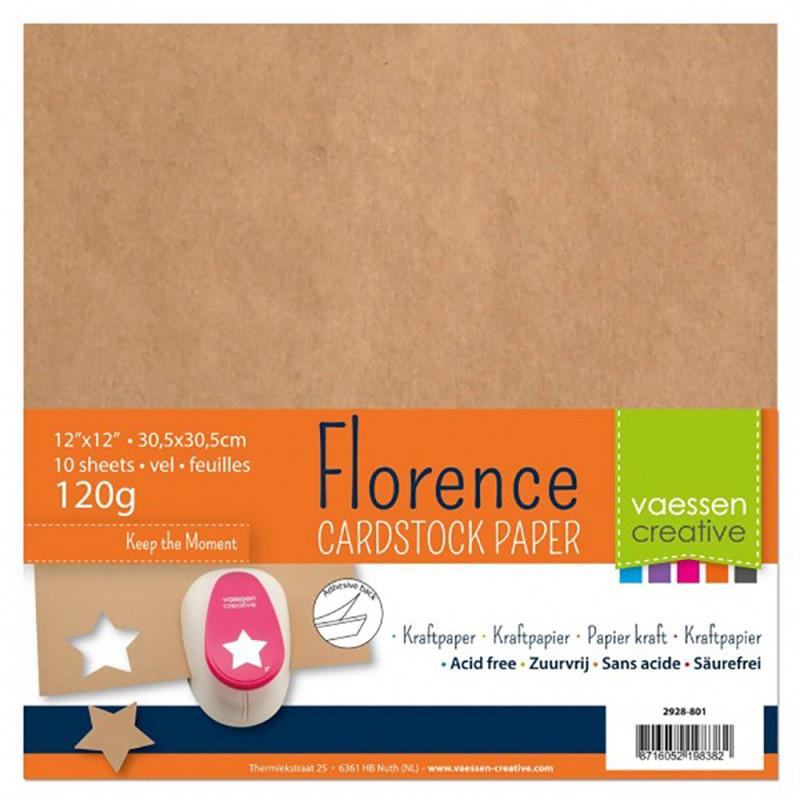 Set de papier Kraft adhésives florence carton 30.5x30.5cm (10 feuilles) de Vaessen Creative