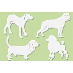 Set de 4 grands motifs Dentelle de bois chiens