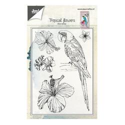 """Tampon transparent """"Perroquet et fleur"""" de Joy!Crafts"""