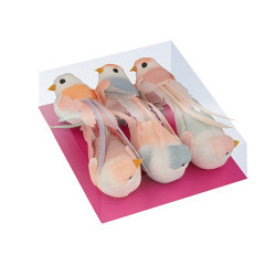 """Set de 6 Oiseaux à plumes """"love story"""" sur pince d'Artemio"""