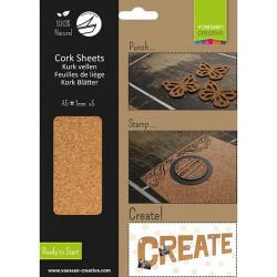 Paquet de 5 feuilles de liége adhésives naturel A5 de Vaessen Creative